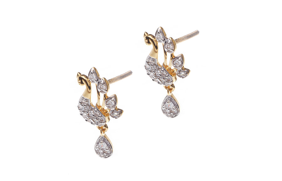 22ct Gold Cubic Zirconia 'Peacock' Design Drop Earrings (4.08g) (ETM)