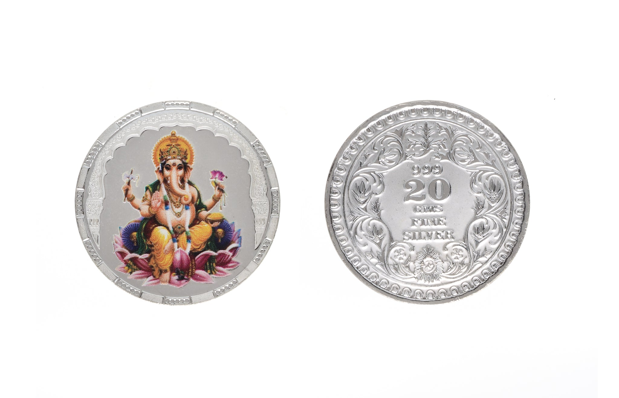 Sterling Silver Coin featuring Ganesh (G20gcolour)