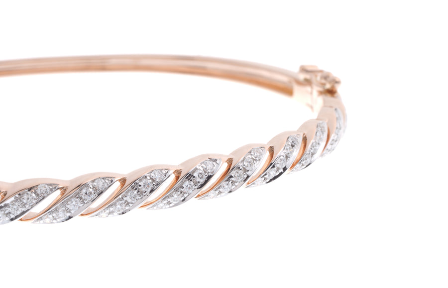 18ct Rose Gold Diamond Bangle with clasp (G43403-2)_1