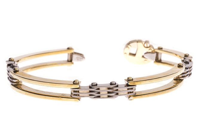 18ct Two Tone Gold Gents Bracelet (34g) (GBR-1090)