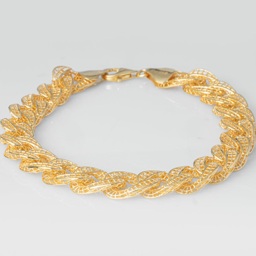 22ct Gold Curb Link Gents Bracelet in Filigree Design with Lobster Clasp (22.6g) GBR-8041