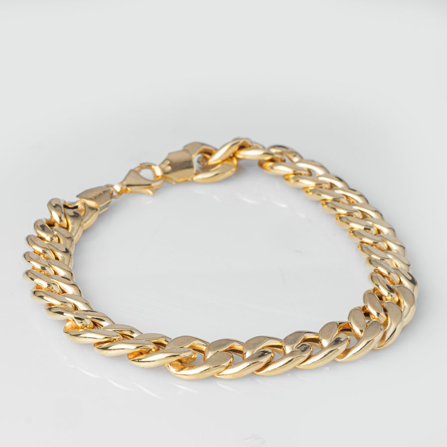 22ct Gold Curb Link Gents Bracelet with Mirror Finish fitted with a Lobster Clasp (20.5g) GBR-8043