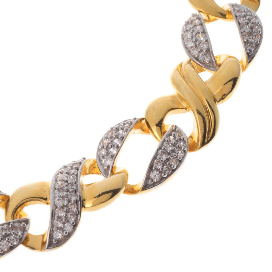 22ct Gold Curb Link Gents Bracelet with Cubic Zirconia Stones GBR9010