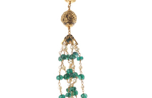 22ct Gold Antiquated Look Necklace and Earring Set with South Sea Cultured Pearls, treated Emeralds and Simulated Pearls (GMS-B268)