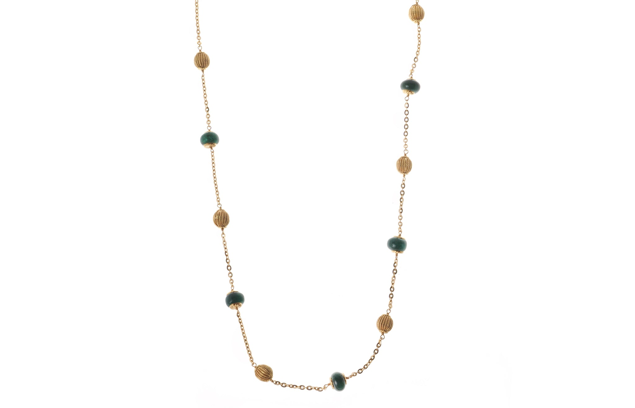 22ct Gold Antiquated Look Necklace with diamond cut design and treated Emeralds (GMS-C18535)