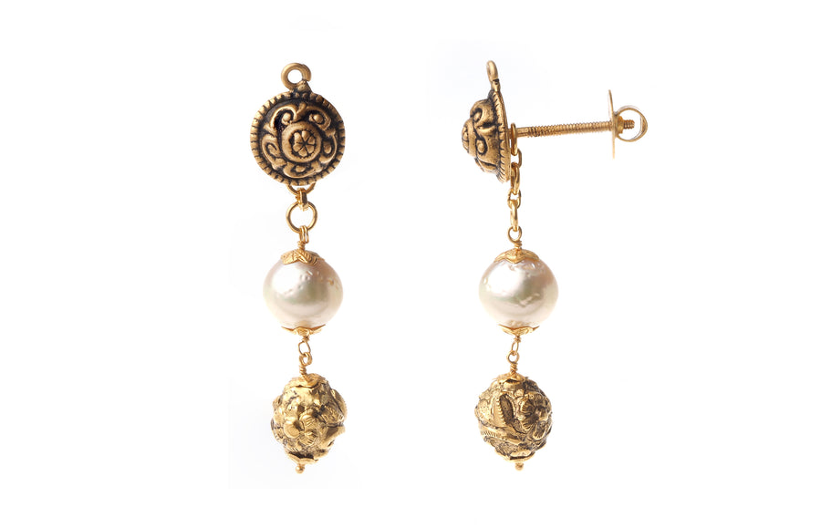 22ct Gold Antiquated Look Necklace and Earring Set with Cultured Pearls (GMS-P678)