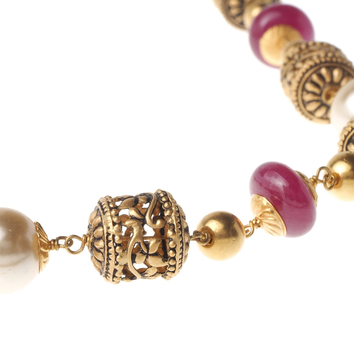 22ct Gold Antiquated Look Necklace with treated Rubies and Simulated Pearls (GMS-P827)
