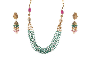 22ct Gold Antiquated Look Necklace and Earring Set with South Sea Cultured Pearls, treated Emeralds and Rubies (GMS-Q585)