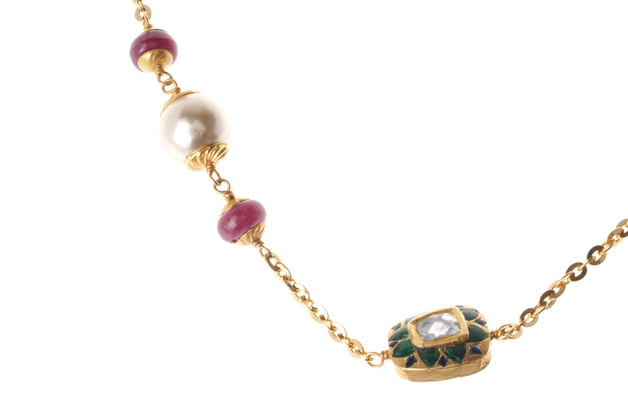 22ct Gold Antiquated Look Necklace with treated Rubies, Simulated Pearls and Synthetic Kundan Stones (GMS-S3373)
