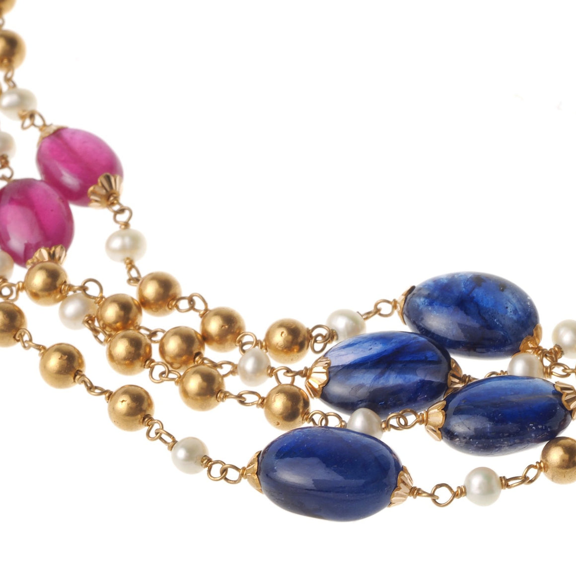 22ct Gold Antiquated Look Necklace with Cultured Pearls, Simulated Pearls and treated Emeralds, Blue Sapphires and Rubies (GMS-S944)