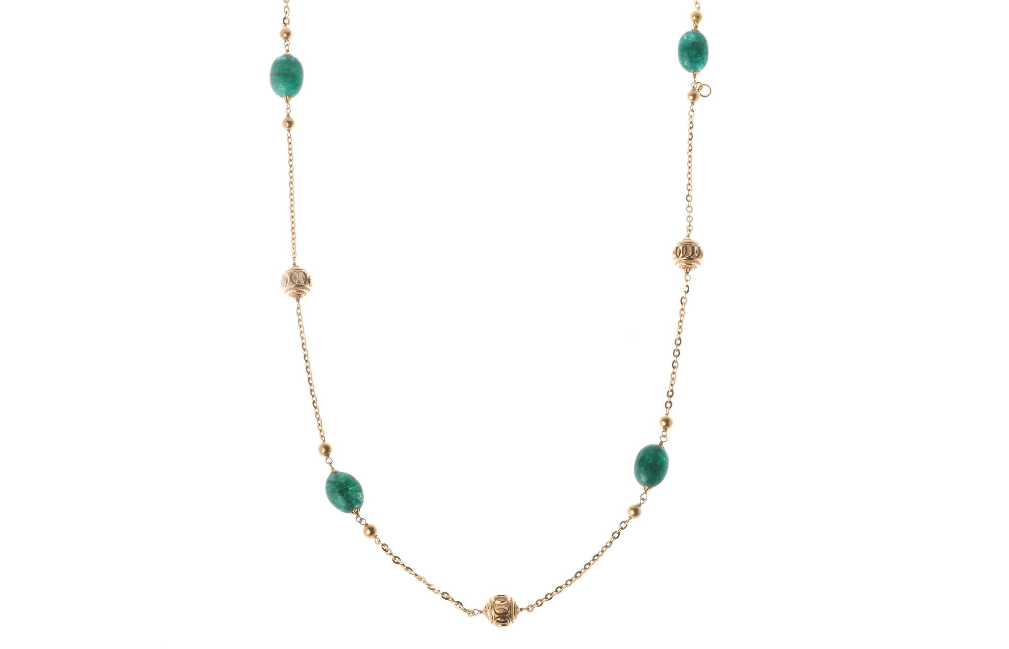 22ct Gold Antiquated Look Necklace with diamond cut design and treated Emeralds (GMS-X8219)