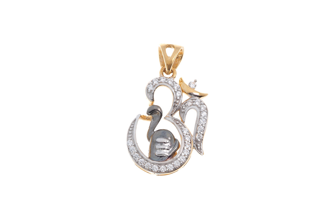 22ct Yellow Gold Cubic Zirconia Om Pendant with Shiv Ling (G5828), Minar Jewellers - 1