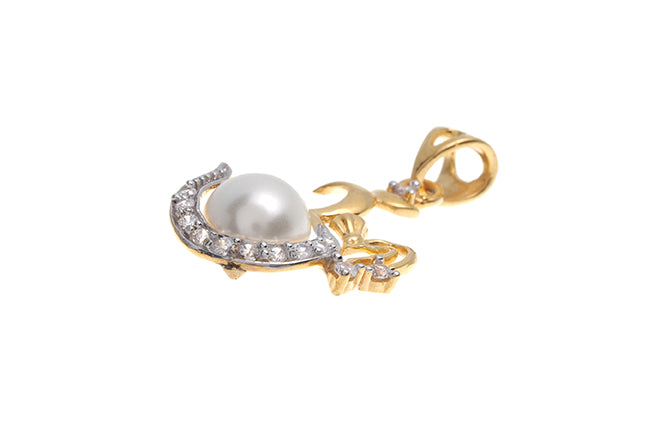 22ct Gold Om Cultured Pearl Pendant set with Cubic Zirconias (2.76g) GP0093