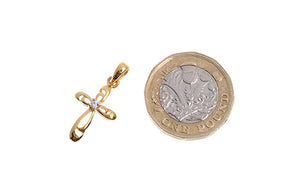 22ct Gold Cubic Zirconia Cross Pendant (2.01g) (GP0110)