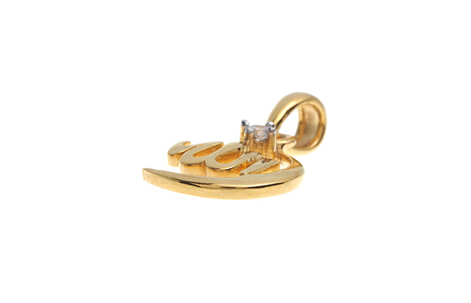22ct Gold Cubic Zirconia Islamic Allah Pendant (GP0130) (online price only)