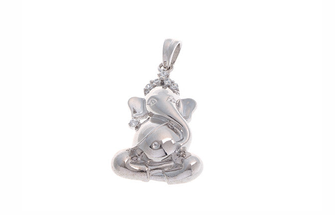 18ct White Gold Cubic Zirconia Ganesh Pendant (GP11026)