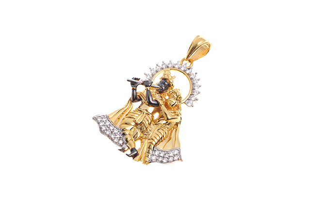 22ct Yellow Gold Radha Krishna Pendant with flute (10.03g) GP12026