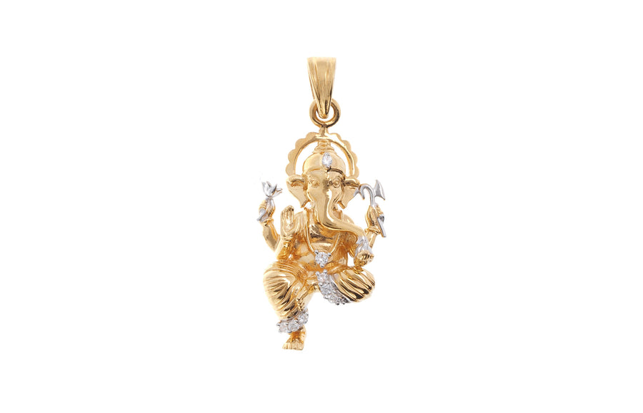 22ct Yellow Gold Cubic Zirconia Ganesh Pendant, Minar Jewellers - 1