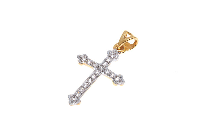 22ct Gold Cubic Zirconia Cross Pendant (1.82g) GP7113