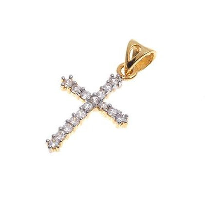 22ct Gold Cubic Zirconia Cross Pendant (1.46g) GP7114