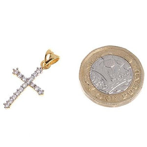 22ct Gold Cubic Zirconia Cross Pendant (1.99g) (GP7114)