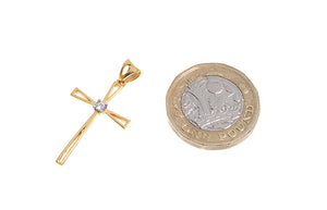 22ct Gold Cubic Zirconia Cross Pendant (2.23g) (GP9007)