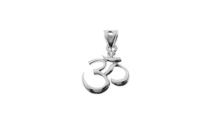 18ct White Gold Cubic Zirconia Om Pendant (1.55g) (GP9089)