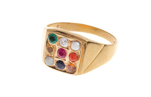 22ct Yellow Gold Men's Navratna Ring (GR-4208) (online price only)