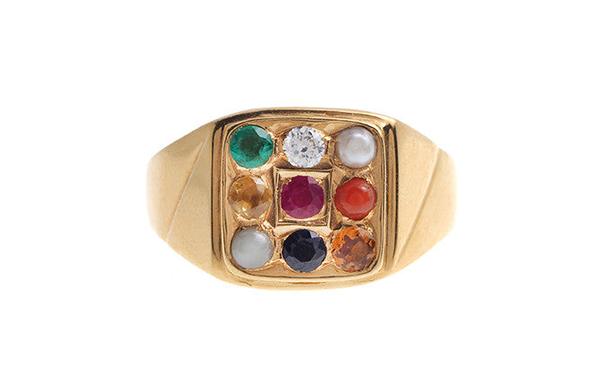 22ct Yellow Gold Men's Navratna Ring (GR-4208_B)