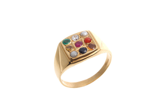 22ct Yellow Gold Men's Navratna Ring (GR-4208_D)