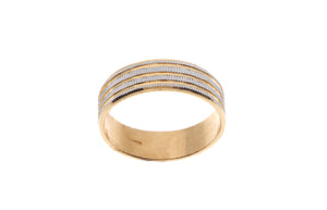 22ct Yellow Gold Wedding Band with Rhodium Design (GR-4770)