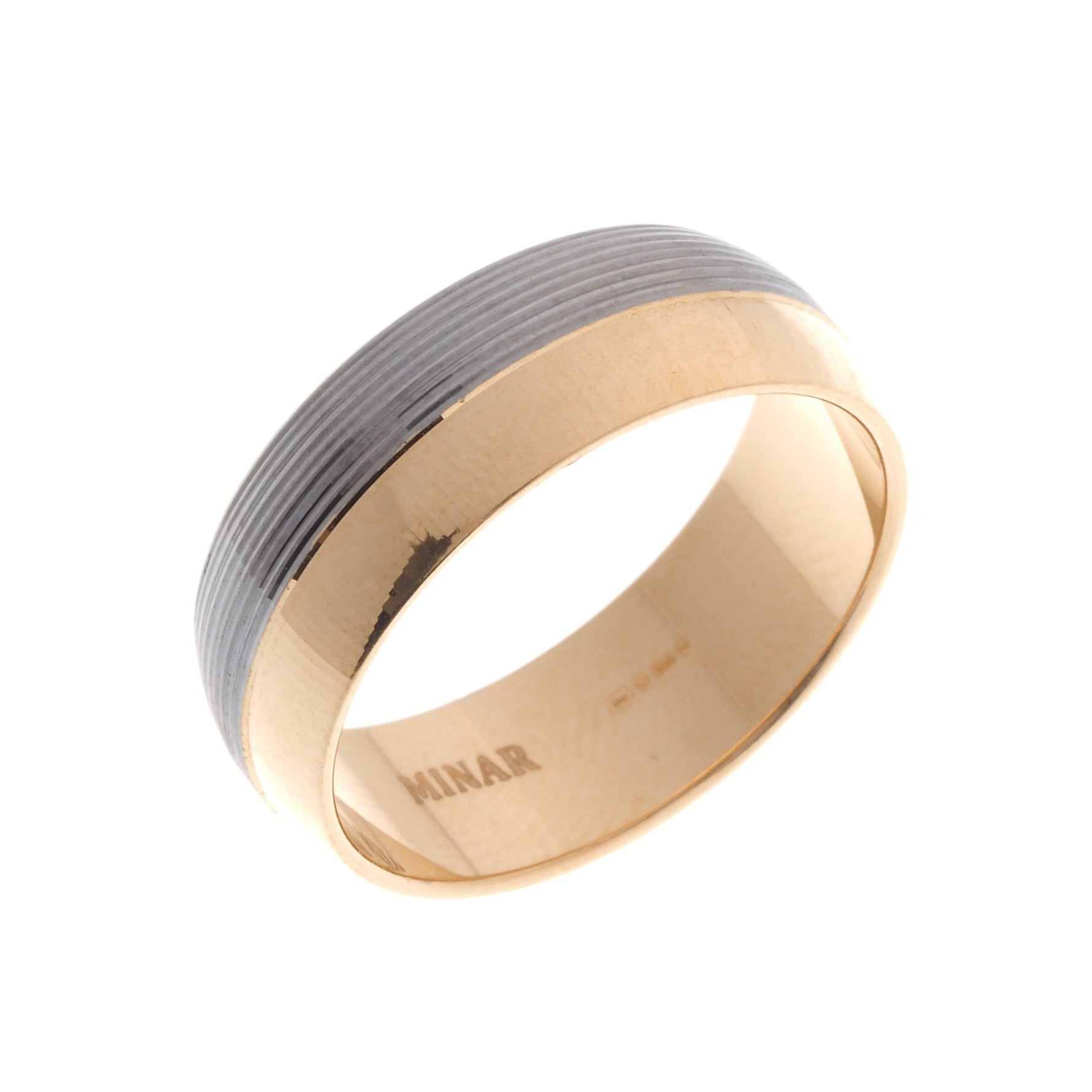 22ct Gold Gents Wedding Band with rhodium design GR-6931