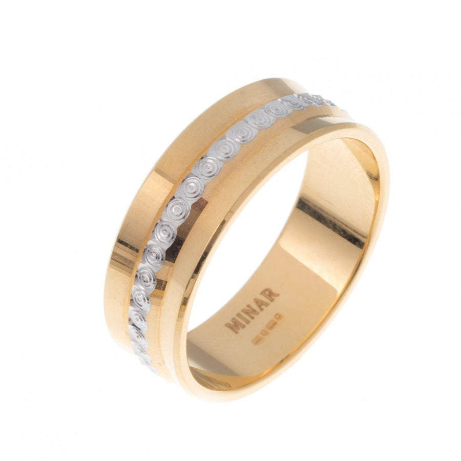 22ct Gold Gents Wedding Band with rhodium design (8.06g) GR-6936