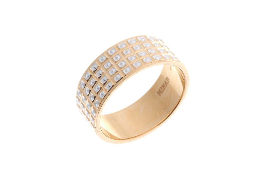 22ct Gold Gents Wedding Band with rhodium design GR-6937