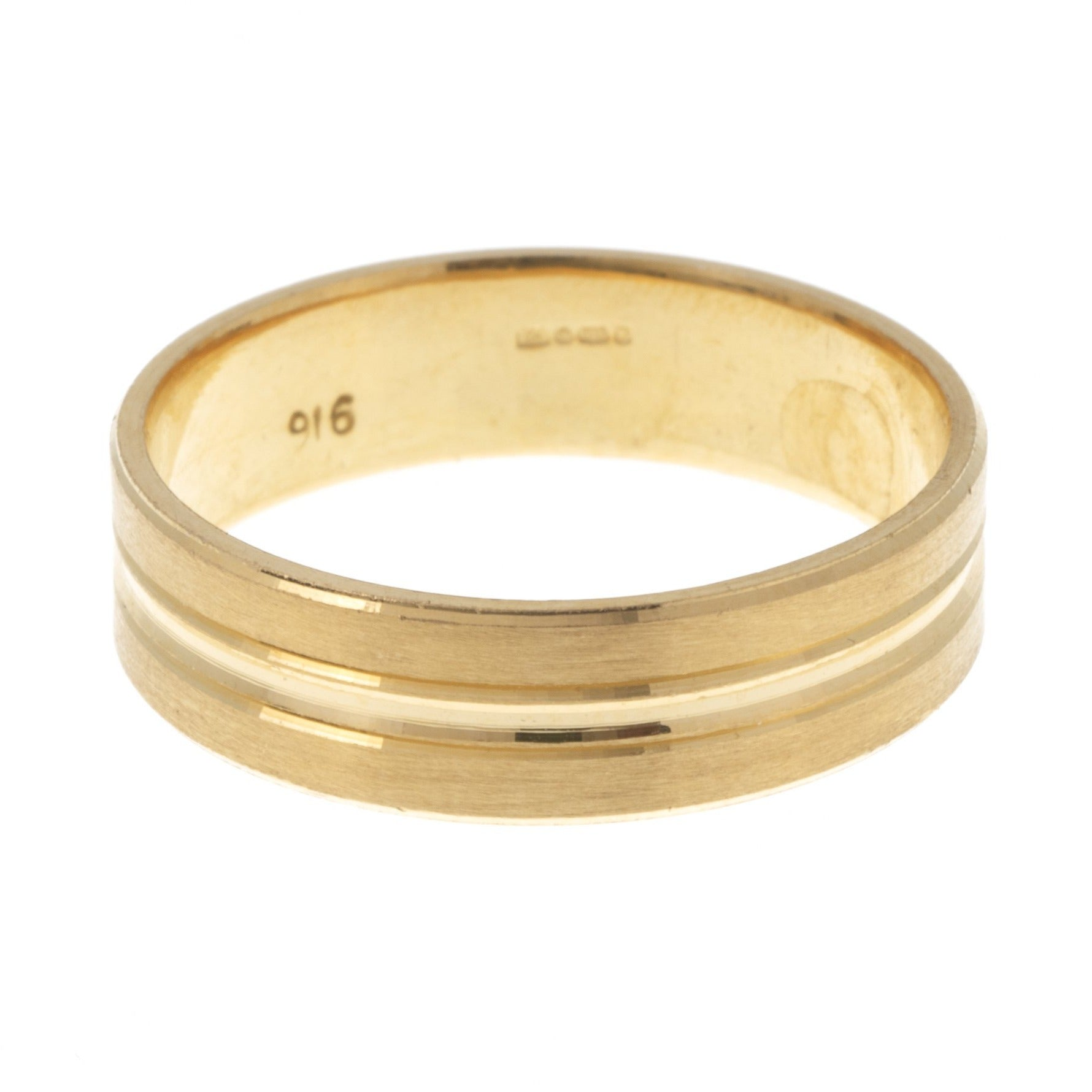 22ct Gold Gents Wedding Band with Diamond Cut Design (7.7g) GR-7370