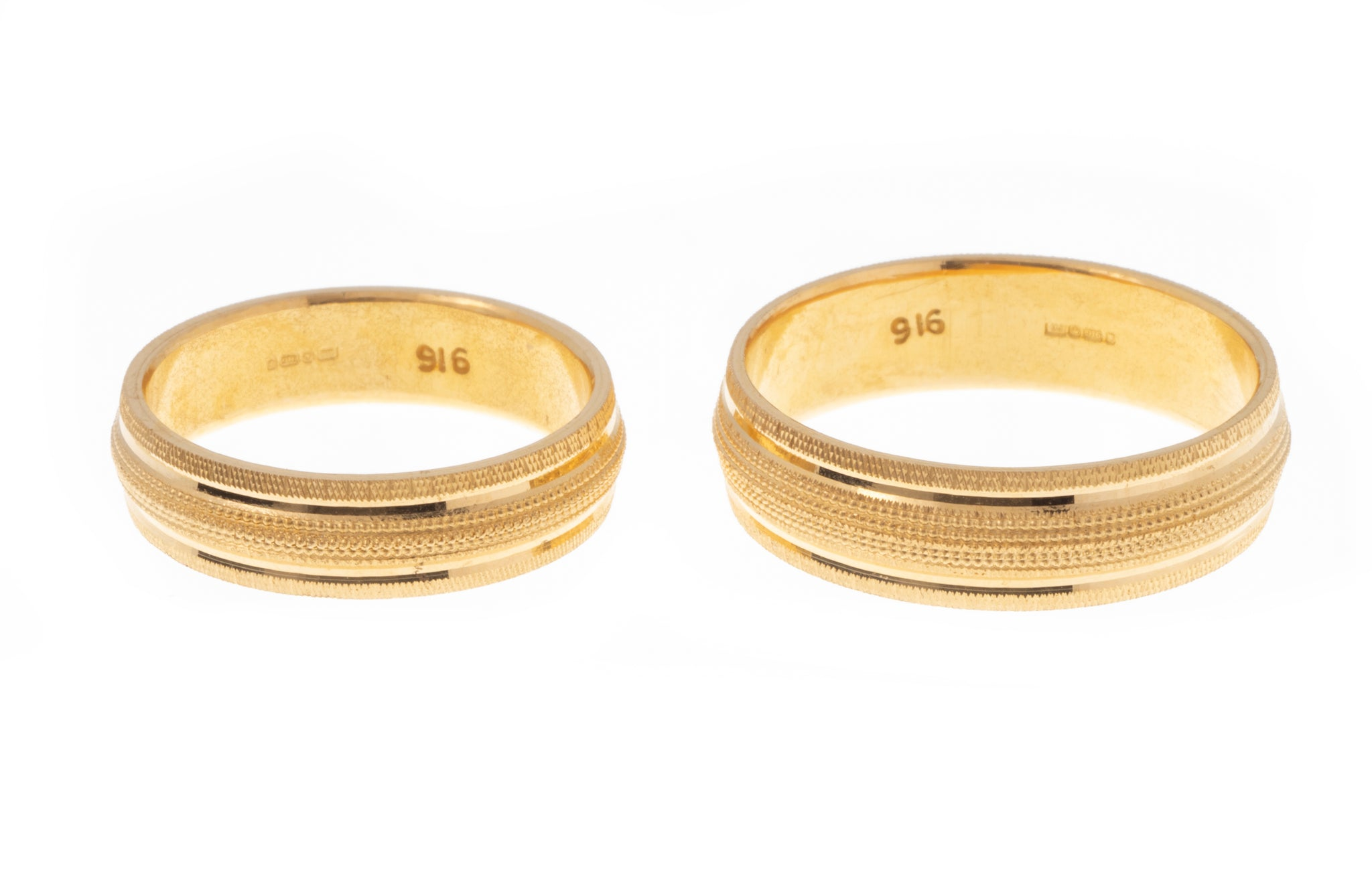 22ct Gold Wedding Band with Diamond Cut Design LR/GR-7359