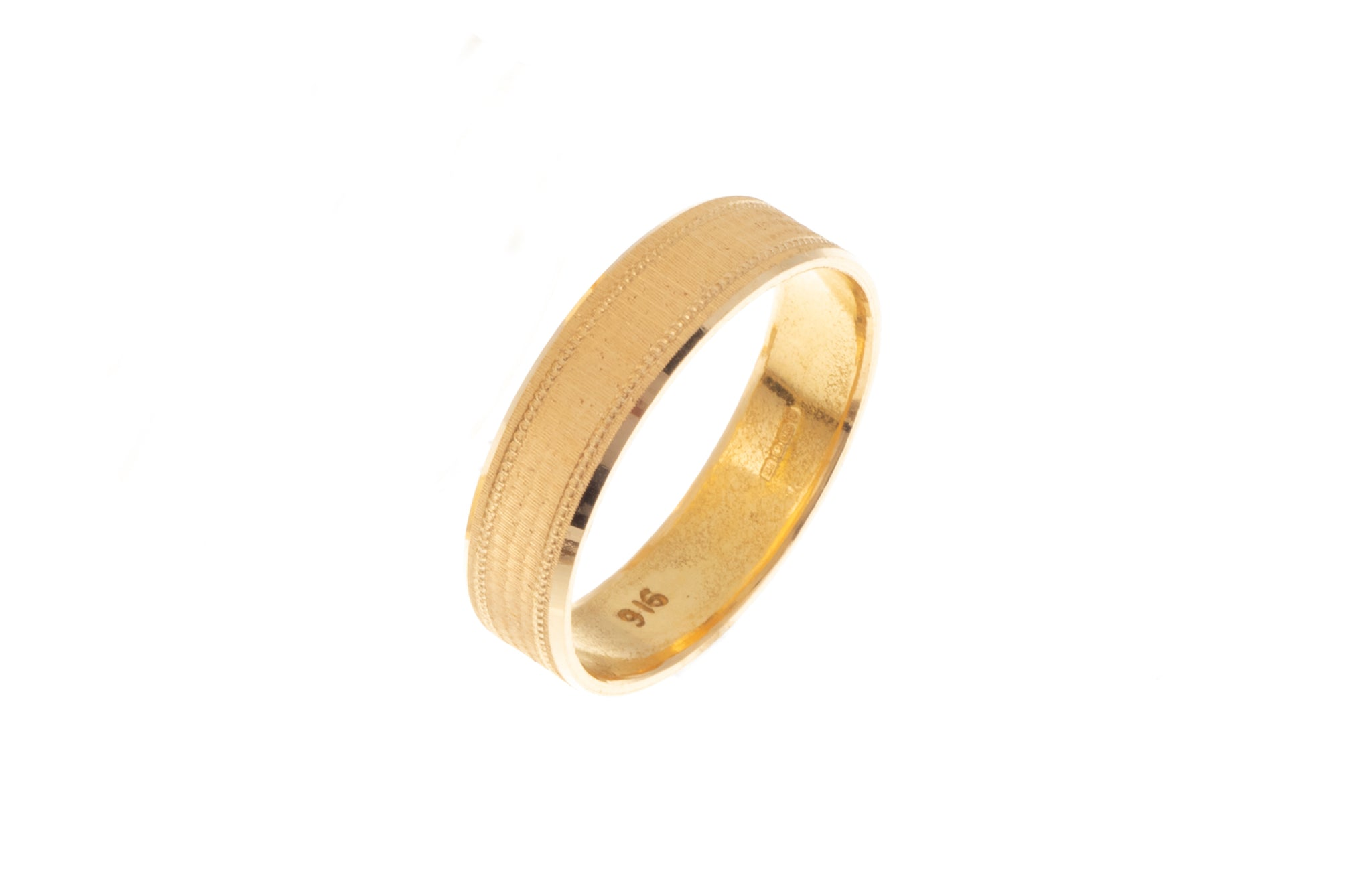 22ct Gold Wedding Band with Diamond Cut Design LR/GR-7360