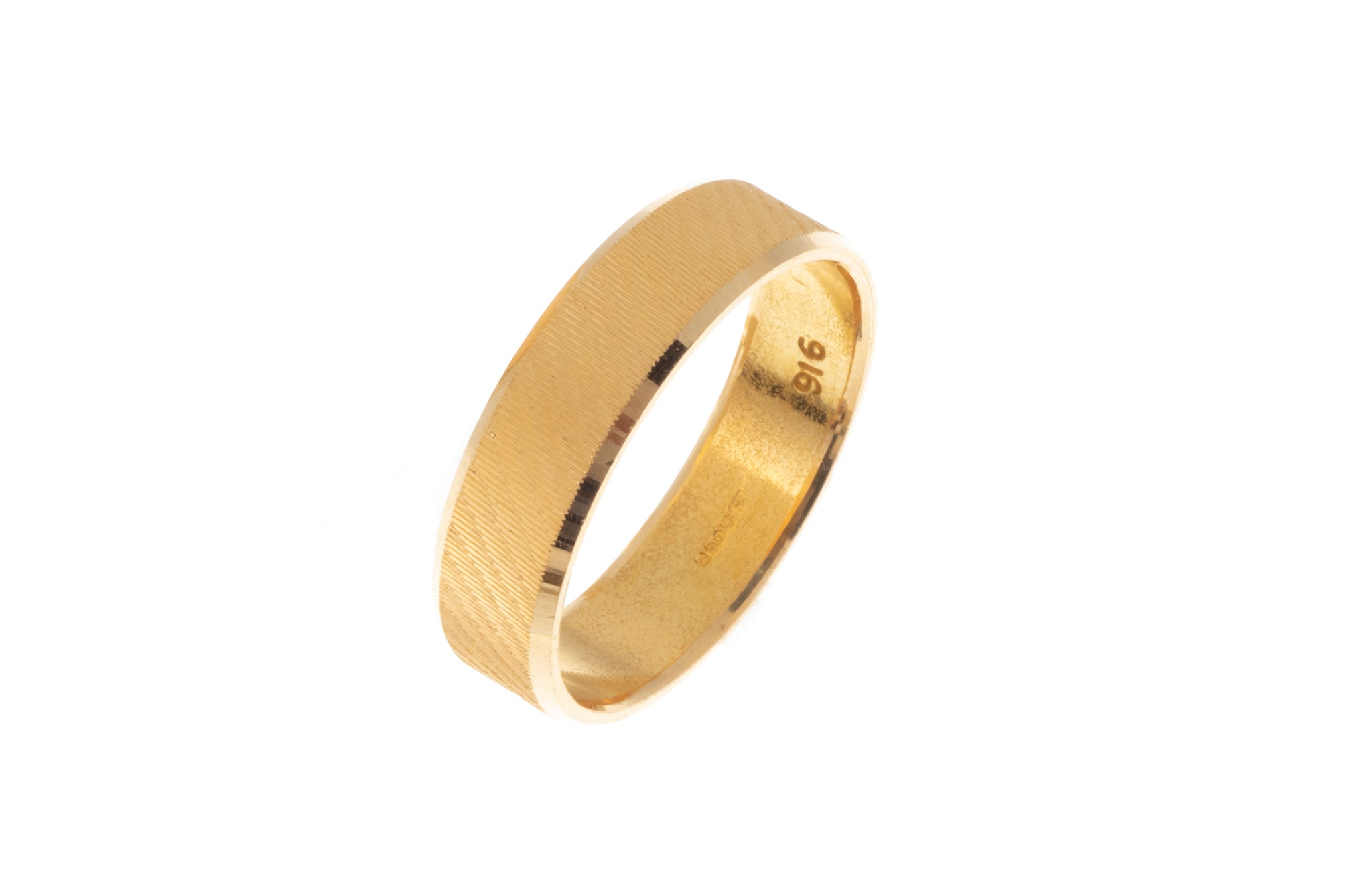 22ct Gold Wedding Band with Diamond Cut Design LR/GR-7361