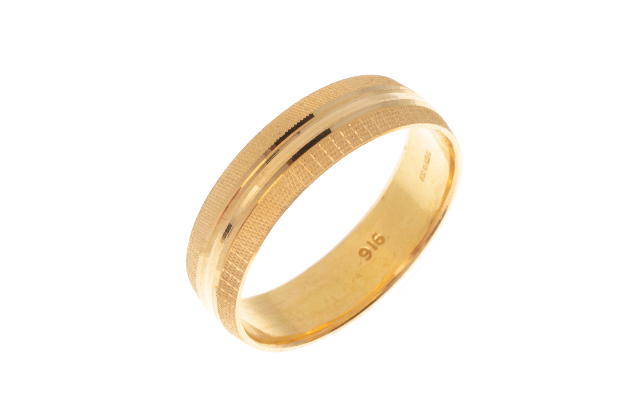 22ct Gold Wedding Band with Diamond Cut Design LR/GR-7362