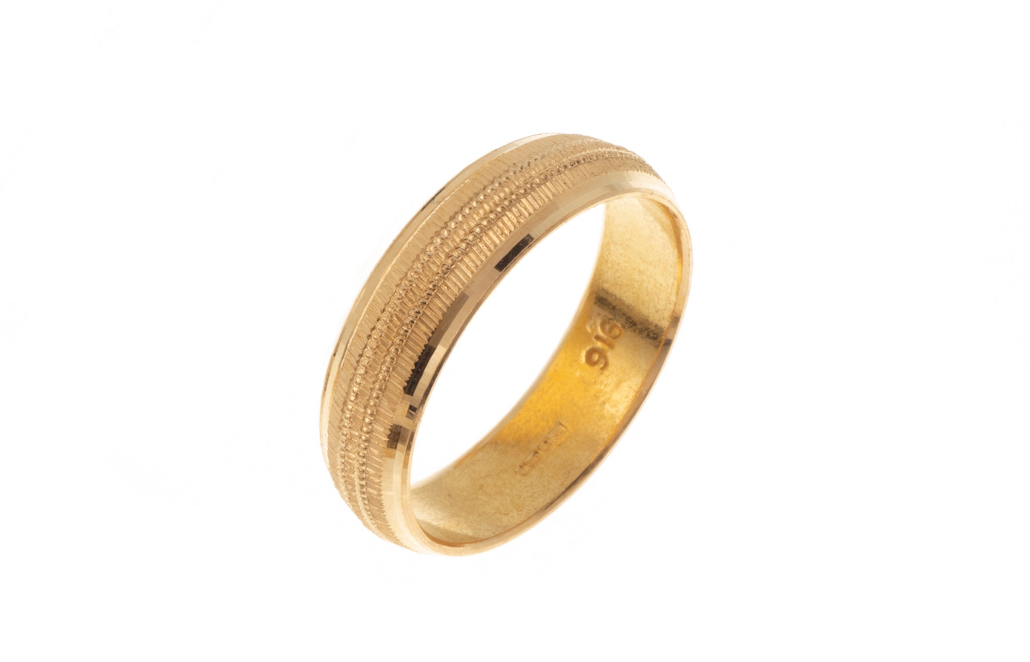 22ct Gold Wedding Band with Diamond Cut Design LR/GR-7363