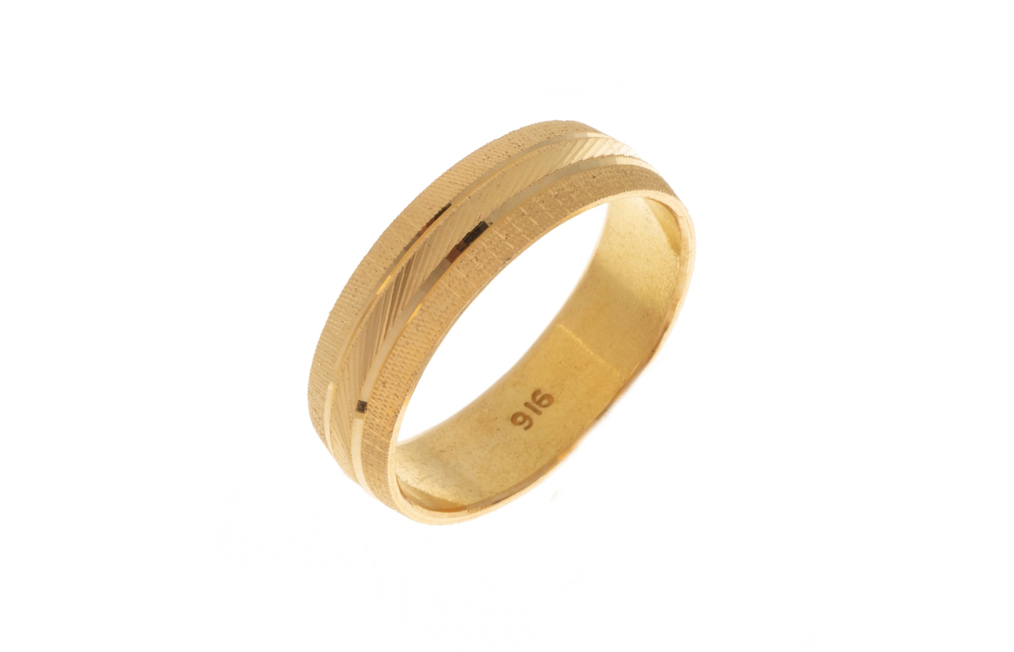 22ct Gold Wedding Band with Diamond Cut Design LR/GR-7364