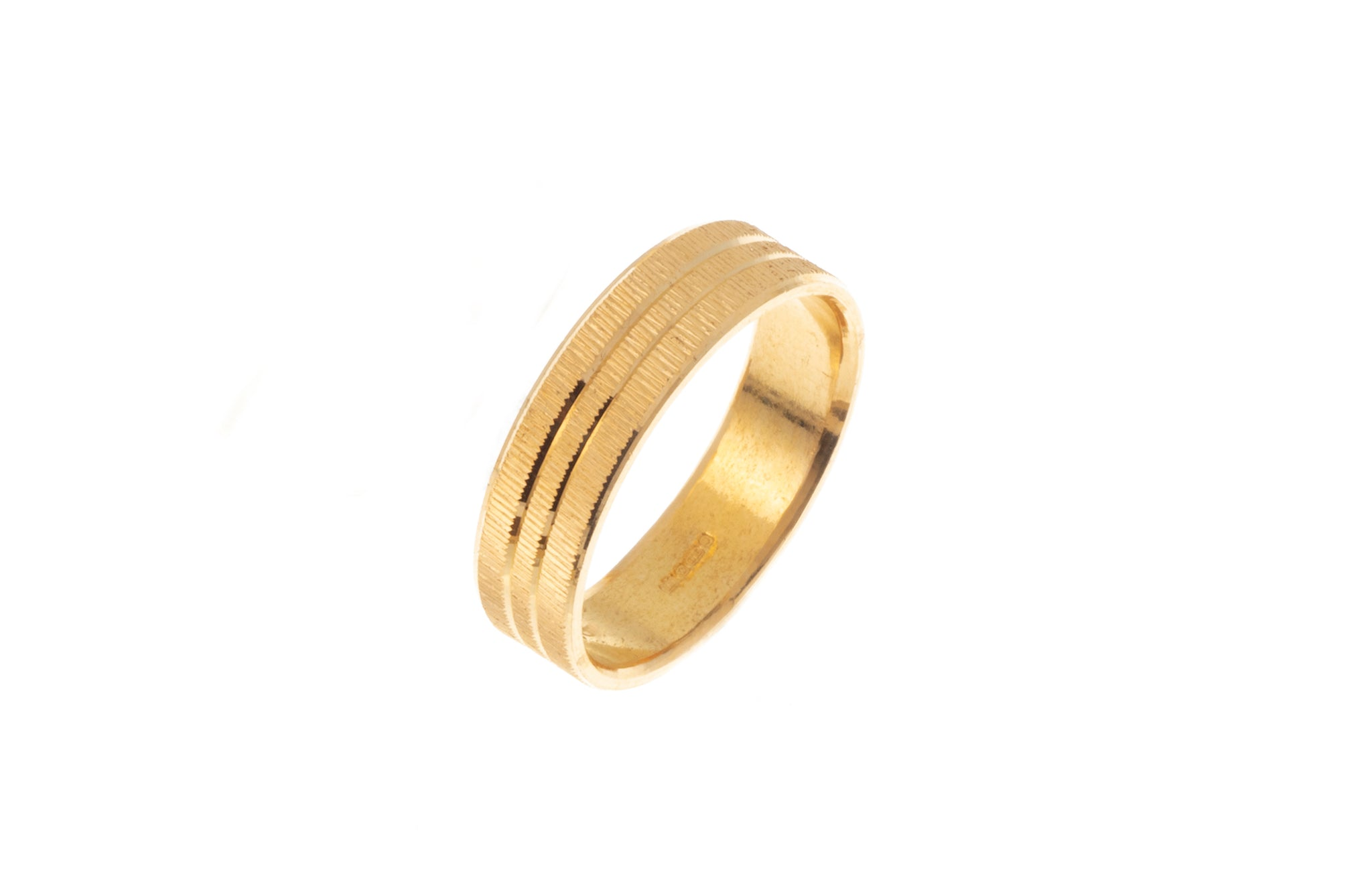 22ct Gold Wedding Band with Diamond Cut Design LR/GR-7372