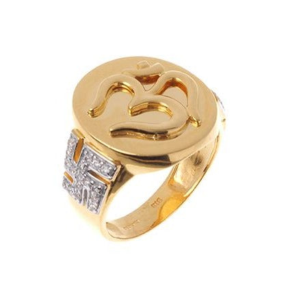 Gold Cubic Zirconia Gents Ring with Om and Saathiya Symbols GR15126