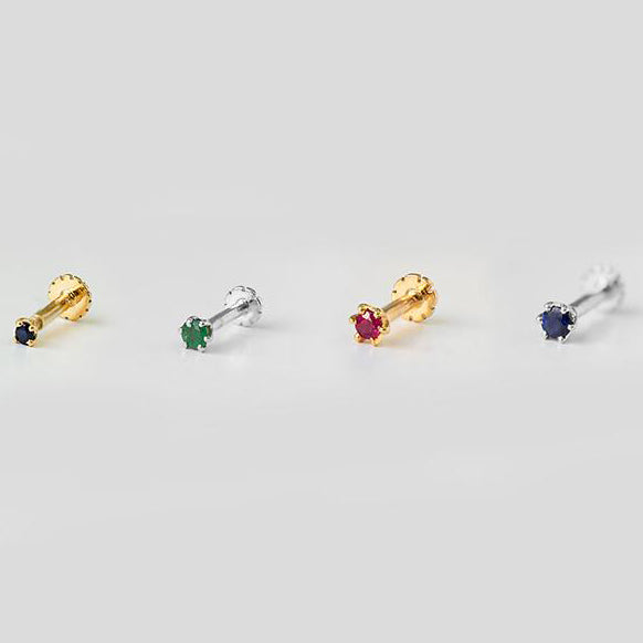 18ct Gold Emerald | Ruby | Sapphire Screw Back Nose Stud (0.02ct - 0.17ct)
