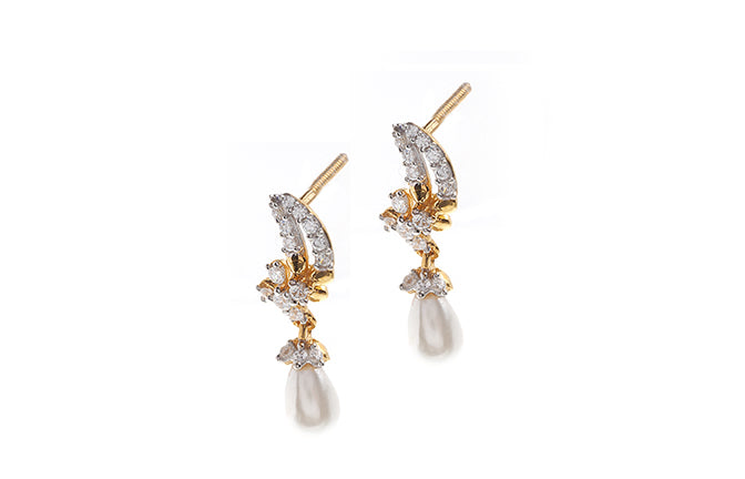 22ct Gold Earrings set with Cubic Zirconia stones and Cultured Pearls (HET13003)