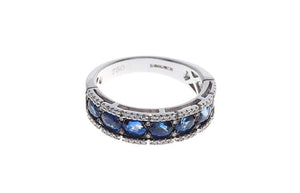 18ct White Gold Blue Sapphire & Diamond Dress Ring (HF04103RWS)
