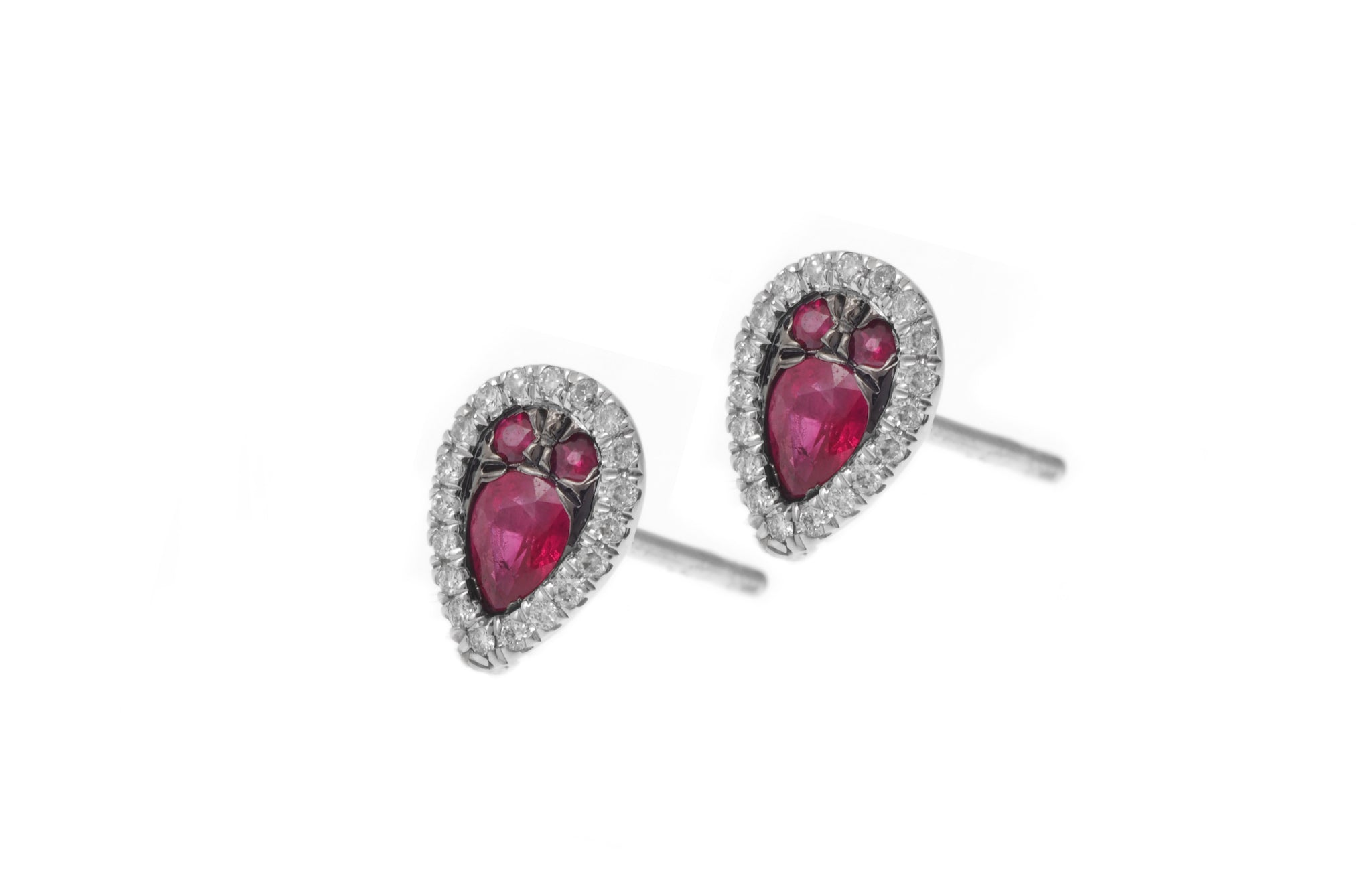 18ct White Gold Diamond and Ruby Stud Earrings HF05154E-W-R