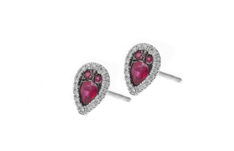 18ct White Gold Diamond and Ruby Stud Earrings (HF05154E-W-R)