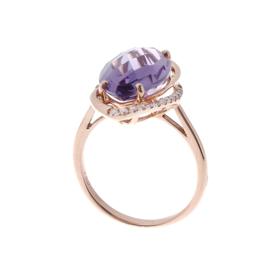 18ct Rose Gold Diamond and Amethyst Dress Ring (HF05499R)