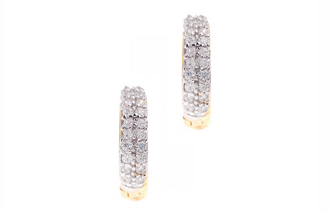 22ct Yellow Gold & Cubic Zirconia Hoop Earrings (2.35g) (HG0001)